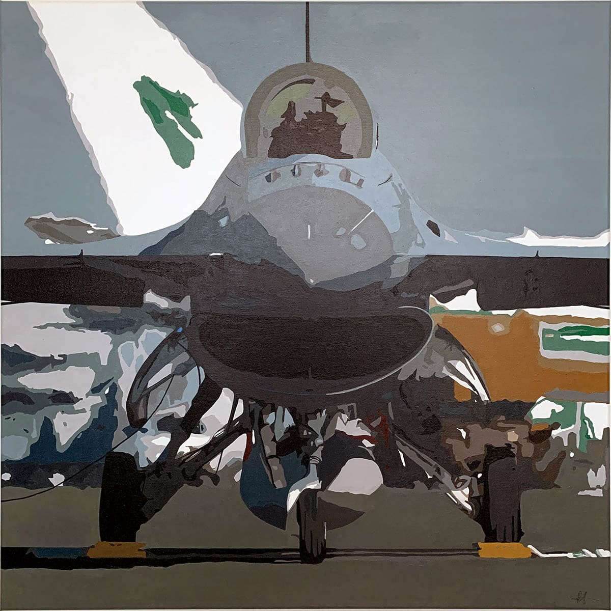 Painting of a Lockheed-Martin F-16, acrylic on canvas for sale.