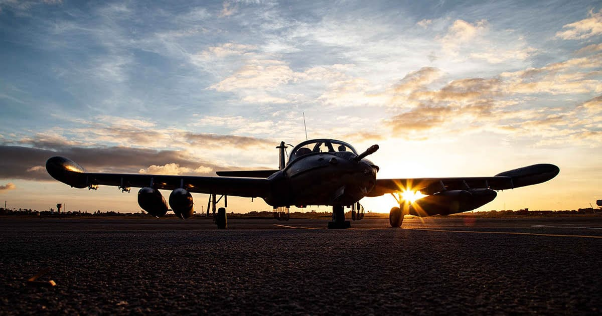 A-37 during sunset photo