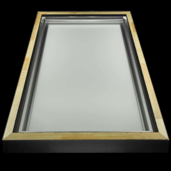 Backside of a photo, showing the hanging frame that comes with every photo and the floater frame.