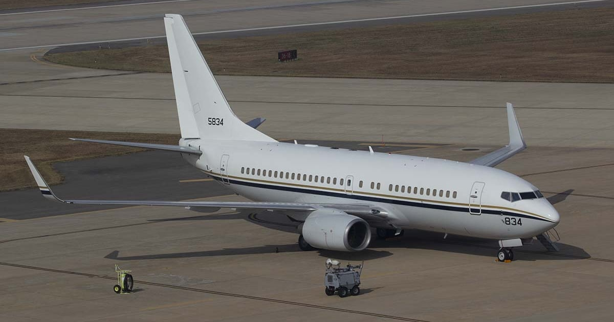 United States Navy Boeing 737/C-40A on a platform.