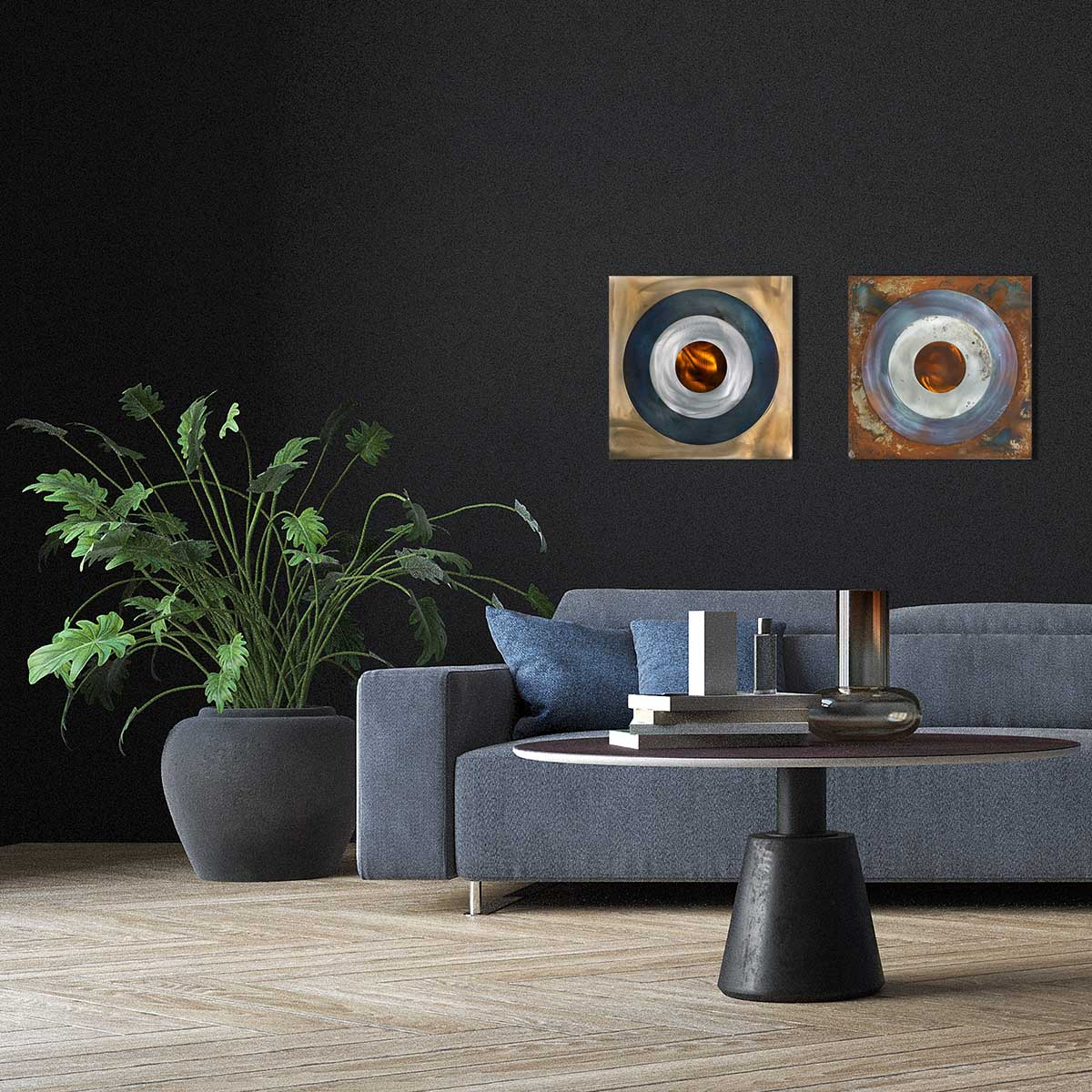 Two steel roundels in a living room.