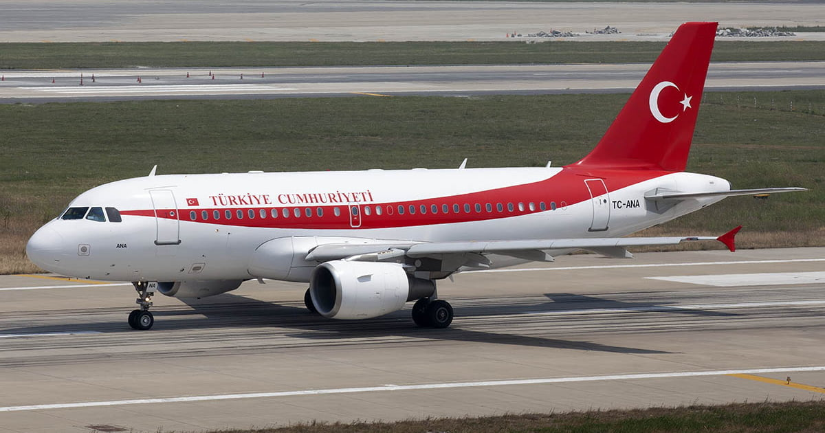 Turkish Goverment Airbus A319 taxying.