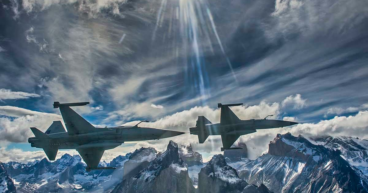 Photo of two F-5E Tigers flying over Torres Del Paine in Chile
