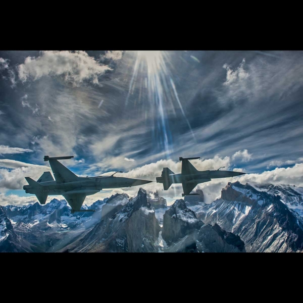 Photo two F-5E Tigers flying over Torres Del Paine in Chile