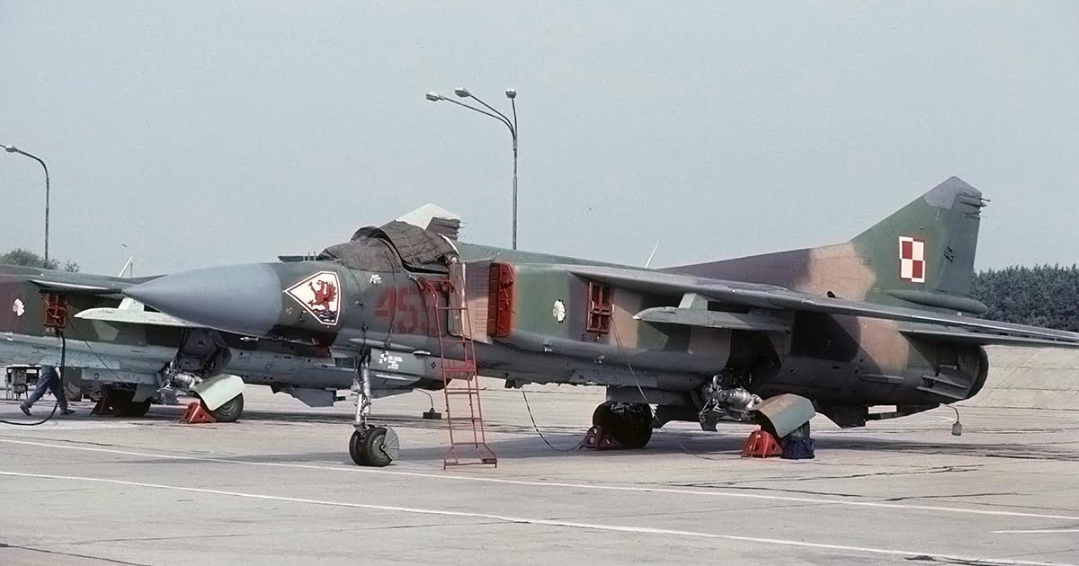 Polish MiG-23 Flogger with several red covers.