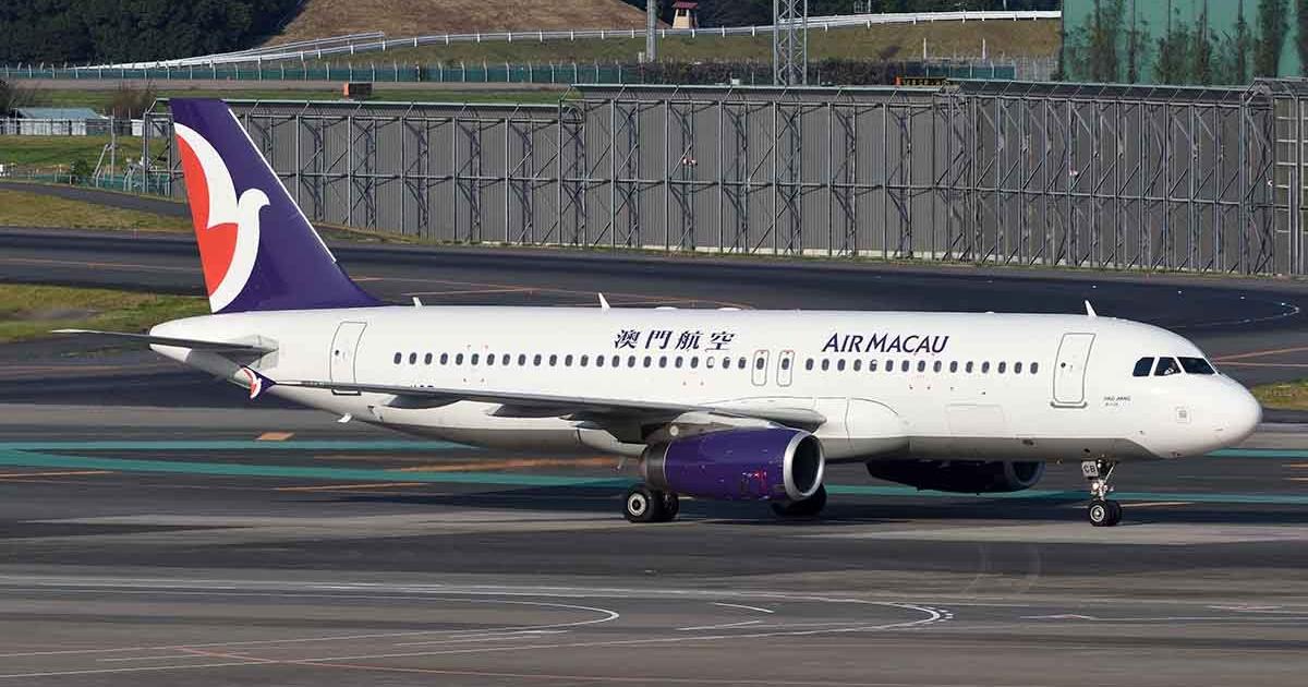 Air Macau A320 at Narita captured by Arjen Weterings.